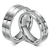 FashionLife - Anillo de boda de acero inoxidable para parejas, anillos de compromiso para hombres y mujeres