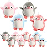 12 Pieces Mini Plush Penguin Stuffed Toys Animal, Cute Small Baby Penguin Stuffed Doll Penguin Plush Keychain Key Holder Bag Pendant Party Favor Present Toys for Boys Girls (Blue Red Pink Yellow)