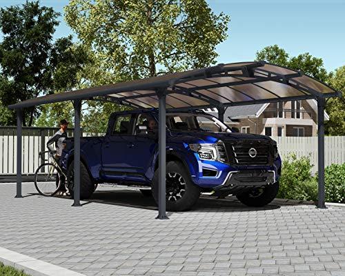 Palram Arcadia 6400 Carport Aluminium & Verzinkter Stahl 6,5x3,5 m, Überdachung, Autogarage, Autounterstand, Einfache Montage, Carport Bausatz, 10 Jahre Garantie, Anthrazit Inkl. Regenrinne