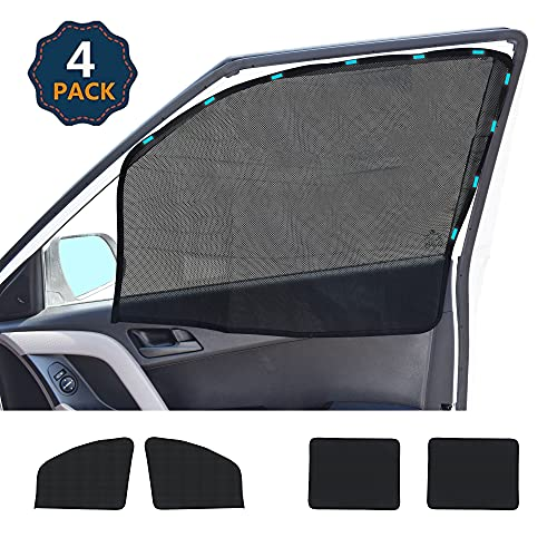 EcoNour Car Window Shades for Side Windows (4 Pack) | Front and Rear Magnetic Window Screen | Baby Window Shade for Car | Suitable for Car Camping | Makes Your Car Privacy and Cooler