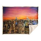 Caleffi Coperta Plaid in Pile ricciolino NY Sunset 130x160 cm Peso 460 gr/mq