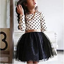 Kids Clothing Dot Pattern Long Sleeve Dress Tutu Child Girl Party Costume, Height:100cm(White Shirt+ Black Skirt) Boys Clothing (Color : White Shirt+Black Skirt)