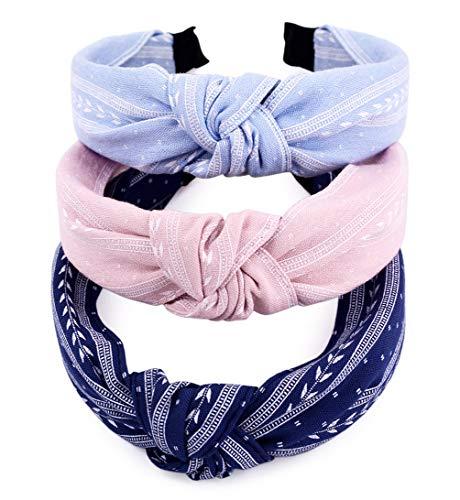 STHUAHE Pack of 3 Women Girls Handmade Lovely Style Cloth Cross Knot Hair Hoop...