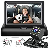 Maxcho Baby Car Mirror, 4.3'' Night Vision Function Car Mirror Display, Back Seat Baby Car Camera with HD Night Vision Function, Wide View, Easily Observe the Baby's Move