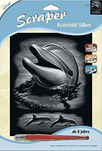 MAMMUT 136026 - Kratzbild, Motiv Delfin, silber, glänzend, Komplettset mit Kratzmesser und Übungsblatt, Scraper, Scratch, Kritzel, Kratzset für Kinder ab 8 Jahre