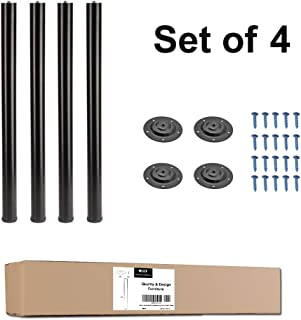 QLLY 28 inch Adjustable Metal Desk Legs, Office Table Furniture Leg Set, Set of 4 (Black)