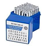 """BENECREAT 36 Pack(5 mm 3/16"""") Set di timbri per Lettere e Numeri, Metallo Forato per timbratura - Utensili per Acciaio al Carbonio Duro galvanizzati/Foratura di Metalli, Gioielli, Pelle"""