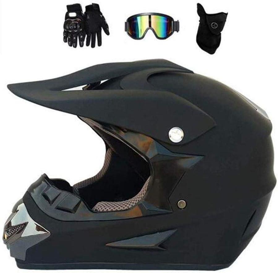 OUYA Casco de motocross, casco de motocross para adultos y guantes máscara unisex, cuatro ruedas de resistencia ATV, adecuado para jóvenes