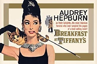 Pyramid America Breakfast at Tiffanys Audrey Hepburn Holly Golightly Romantic Comedy Movie Film Gold Poster 36x24 inch