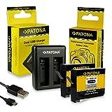 PATONA Caricabatteria doppio + 2x Batteria AHDBT-401 compatibile con GoPro HD HERO 4