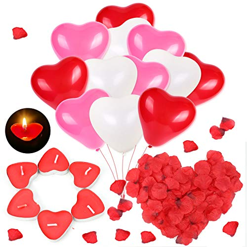 HOWAF Heart Balloons, Candles and Petals Set, 50 Love Heart Shaped Floating Tea lights Candles + 1000 Silk Red Rose Petals + 60 Heart Shaped Latex Balloons for Wedding St Valentines Decorations