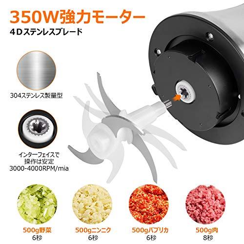 Vitahop 電動ミート350Wグラインダー フードプロセッサー ステンレス製食品チョッパー 家庭用 2L