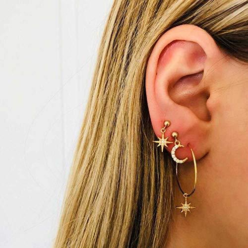 Jovono - Pendientes con diamantes de imitación de luna y estrella para mujeres y niñas