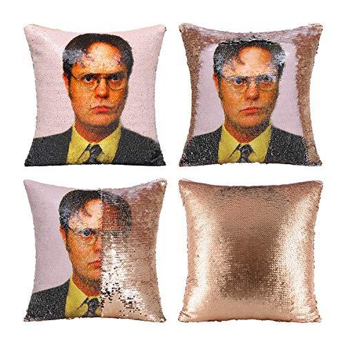 Nalosun The Office Throw Pillow Cover Dwight Schrute Sequin Pillowcase Dwight Magic Reversible Throw Pillow Cover Decorative Pillowcase 16x16 Inch (Champagne Gold)