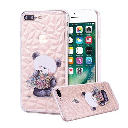 Areall - Carcasa para Apple iPhone 7 Plus, iPhone 8 Plus, textura de cristal de diamante suave, flexible, ultrafina, ligera, transparente, a prueba de golpes, protección de goma TPU para mujeres, cesta de flores