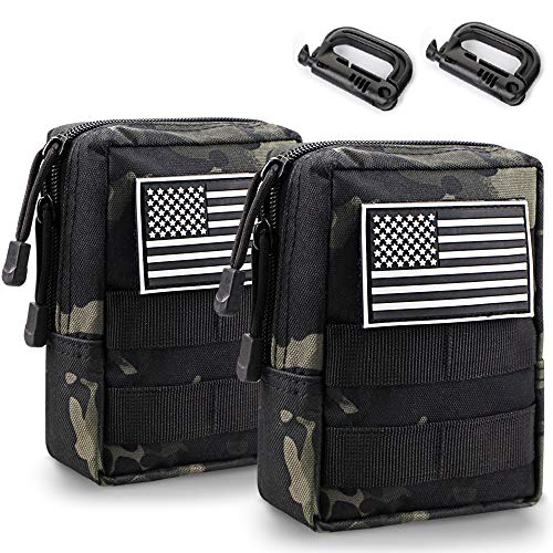 Monoki Molle Pouches, 2 Pack Tactical Waist Bag Water-Resistant EDC Small Pouch Bags with D-Ring Hooks