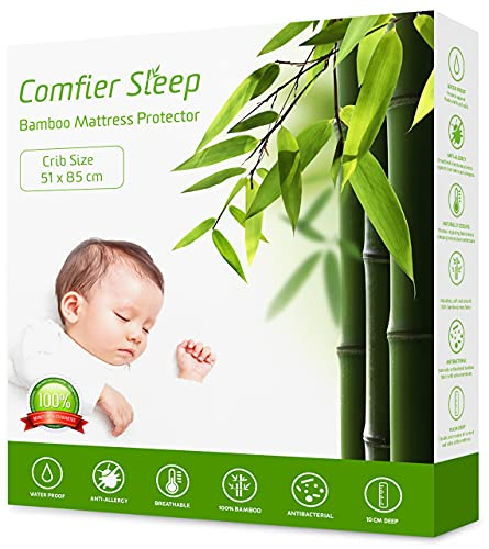 Comfier Sleep Super Soft Waterproof Crib 51x85 cm Mattress protector 100% Bamboo Breathable and fully fitted (To fit Chicco Next to me crib 51x85 cm)