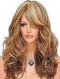 Peluca FALAMKA, larga y con ondas naturales, para mujer, 3 tonos de rubio y castaño
