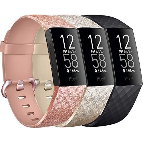 Yandu Correa compatible con Fitbit Charge 3 / Fitbit Charge 4, correa deportiva para Fitbit Charge 3 / Fitbit Charge 3 SE (#Flash Oro Rosa + Flash Oro + Negro, S)