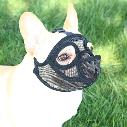 YUESEN Short Snout Dog Muzzle - Adjustable Breathable Mesh Bulldog Muzzle with Tongue Out Design for Barking Biting Chewing Training