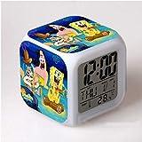 HHIAK666 Reloj Despertador Bob Esponja De Dibujos Animados, Reloj Despertador con Cambio De Color De Colores, Reloj Despertador con Luz De Noche De Regalo 8Cm D
