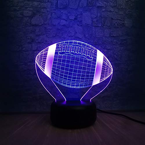 Jahre Junge Illusionslampe Sport American Football Ball 3D Lampe Mischfarbe Multicolor Birne Stimmung Nachtlicht LED USB Gradient Kind Spielzeug Junge Geschenk Requisiten