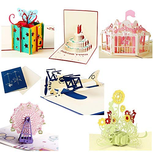 6 Pieces 3D Pop Up Cards, 3D Greeting Cards with Envelopes, Handmade 3D Popup Happy Birthday Cards...