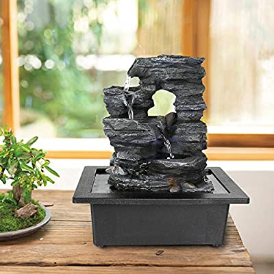 """xpiyaer Cascading Tabletop Fountain with LED Lights and Hollow Designation - 10.23""""H Tiered Rock Water Fountains Indoor Waterfall Feature for Home and Office Use"""