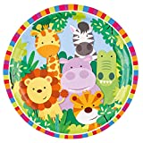 Amakando 20 Platos Desechables Jungla Animales de la Selva / 22,8cm / Platos Desechables Jungla Salvaje/Insuperable Fiesta temática y cumpleaños Infantiles