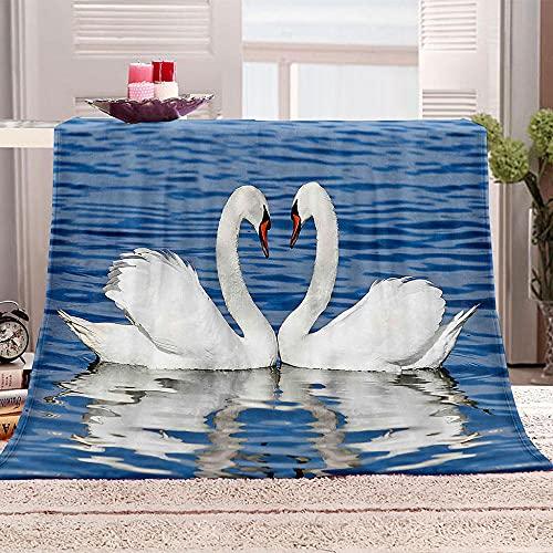 GFWDPG 3D-Digitaldruck Kuschel Decke Tierischer Weißer Schwan Flanell-Decke, Überwurf, Große Tagesdecke–Weich, Flauschig, Warm 150x200 cm