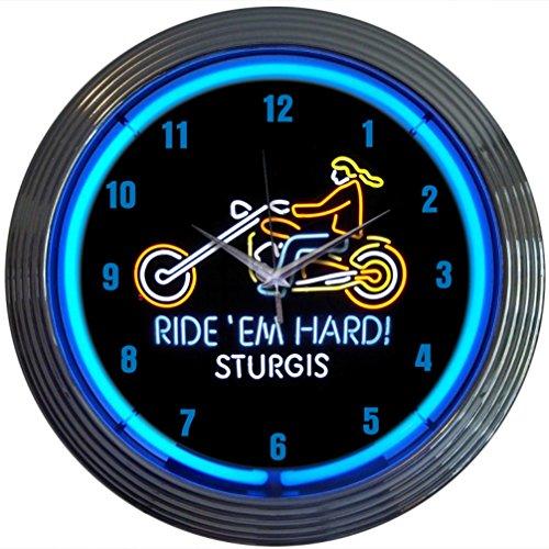 neonetics Cars und Motorräder Ride Em Hard Sturgis (Neon Wanduhr, 15Zoll