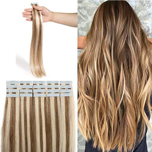 Extensions Adhesives Cheveux Naturels Rajout Cheveux Naturel 100% Cheveux Humain Remy Pose a Froid 20 Pièces (#12+613 Marron Clair Méché Blond Blanchi, 18\