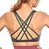 CRZ YOGA Sujetador Deportivo para Mujer Sujetador de Yoga con Tiras con Relleno Extraíble Gris Oscuro L