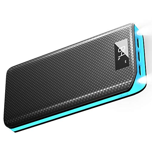 X-DRAGON Externer Akku 20000mAh 3 USB Ports Power Bank mit LCD Display Handy Ladegerät für iPhoneX/8/8 Plus/7/6s, iPad, Samsung Galaxy, Android, Huawei - Blau