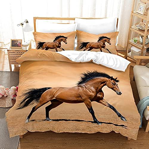 Bedclothes-Blanket bettbezug 180 x 200,Sommer Set DREI-teiliges Grasland Lauf White Horse Stereo Simulation 3D Digitaldruck Bettwäsche Geschenk-fünfzehn_228 * 228 cm.