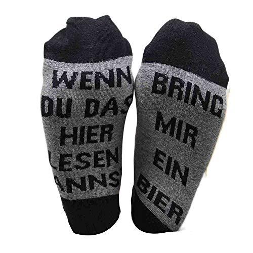 SAMTITY Witzige Socken, Lustige Socken Wenn Du Das Hier Lesen Kannst, Bring Mir EIN Bier, Frauen Männer Socken, Brief Bestickt Bier Socken