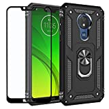 Strug for Motorola Moto G7 Power/Moto G7 Supra/Moto XT1955 Case,Heavy Duty Shockproof Protection Built-in 360 Rotatable Ring Magnetic Car Mount Case with Screen Protector(Black)