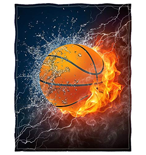 YLOT 60' W x 80' L Fire Heat Basketball Home Decoration Printing Velvet Plush Throw Blanket Comfort Design Fleece Blanket (1)