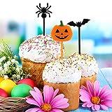 Kesote 100x Cupcake Topper Tortendeko Halloween Kuchendeko Fruit Picks Kuchen Dekoration Tortenstecker Kinder Party, Kürbis Fledermaus Schädel Geist Spinne - 5