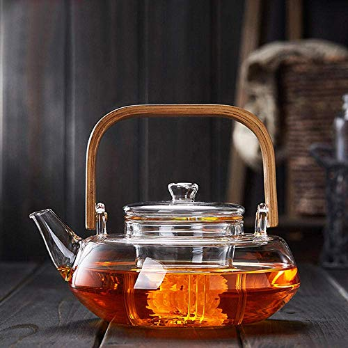 COOLSHOPY Glas-Wasserkocher mit Bambusgriff, 800 ml, Tee-Kanne mit Glassieb, sicherer Deckel, spülmaschinenfest, für Herd