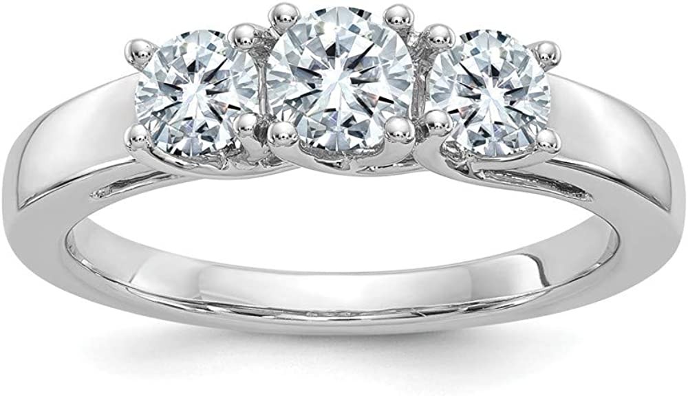 14k White Gold 1ct. 3 Stone D E F Pure Moissanite Wedding Ring Band Size 7.00 Db Dbxx Fine Jewelry For Women Gifts For Her