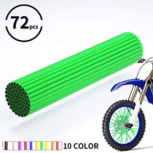 JOYON 72 Pcs Universal Spoke Skins Covers Coats for Motorcycle Dirt Bike Kawasaki Honda Yamaha BMW Suzuki(Green)