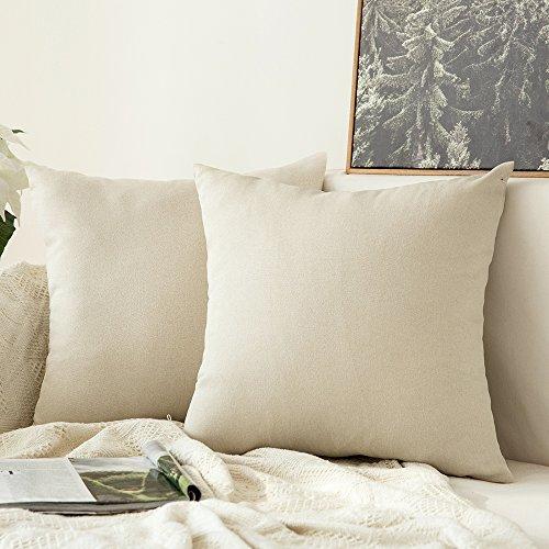 MIULEE 2er Pack Home Dekorative Leinen-Optik Kissenbezug Kissenhülle Kissenbezüge für Sofa Schlafzimmer Auto mit Reißverschlüsse 65x65 cm Creme Weiß