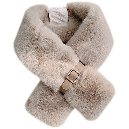 GonFan Envoltura de Cuello Esponjoso Furry Bufanda Femenina Invierno Cuero Hebilla diseño Suave y versátil Bufanda Estudiante Cruz Babero (Color : Beige, Size : One Size)