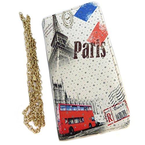 Les Trésors De Lily [P3530 - Reißverschluss begleiter 'Paris Londres' beige mehrfarbig - 21.4x10.7x2.5 cm.