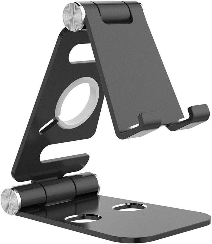 Hianjoo Soporte Móviles, Tableta Metal Soporte, 2 in 1 Portátil Plegable Holder para Teléfono Celulares, Reloj Dock, Ángulo Ajustable Base Compatible con Switch Máquina de Juegos, Negro