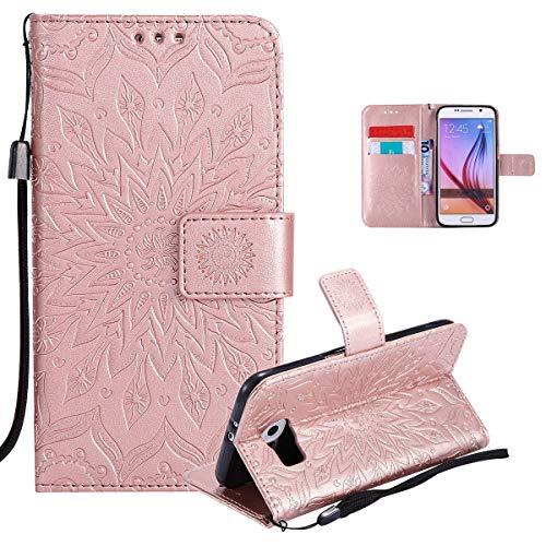 Vectady fur Samsung Galaxy S6 Edge NO fur S6 Hulle Schutzhulle Case Leder Tasche Handyhullen mit Kartenfach Magnet Geldborse Flip Silikon Cover Handytasche fur Samsung Galaxy S6 EdgeRose Gold