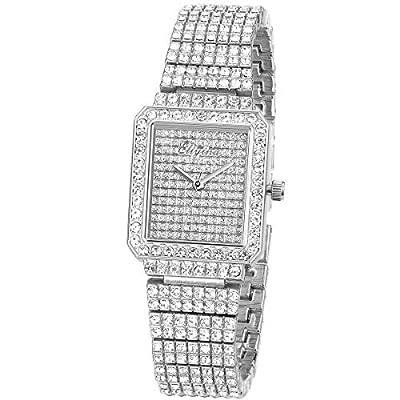 Ladies Watch Luxury Women Watch Crystal Rhinestone Diamond Watches Quartz Stainless Steel Strap Wristwatch Square Dial Wrist Watches for Women Girl