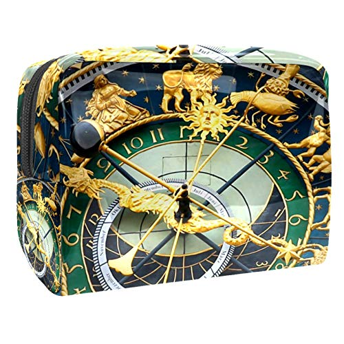 Reloj astronómico retro bolsa de maquillaje organizador de cosméticos multifunción, bolsa de aseo impermeable con cremallera para mujer
