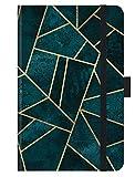 Premium Timer Small Deep Teal Stone - Kalender 2021 - Korsch-Verlag - Taschenkalender A6 mit Stifthalter, Lesebändchen und Zetteltasche - eine Woche auf 2 Seiten - Buchkalender 8,8 cm x 13,8 cm